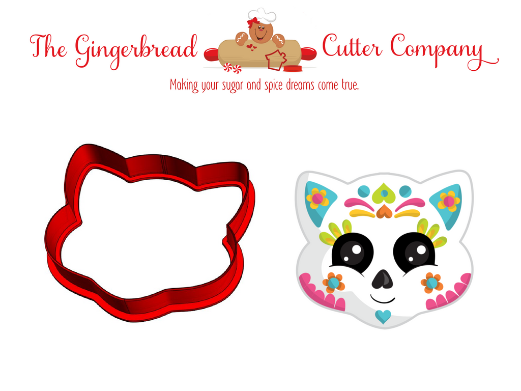 Sugar Skull Cat Cookie Cutter