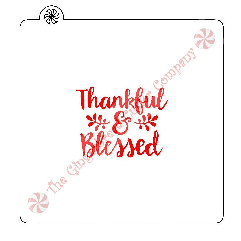 Thankful & Blessed Cookie Stencil