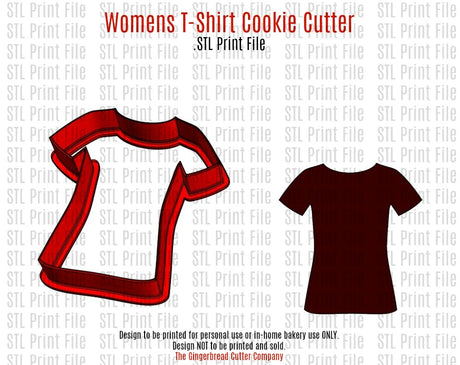 Womens T-Shirt Cookie Cutter .STL Print File