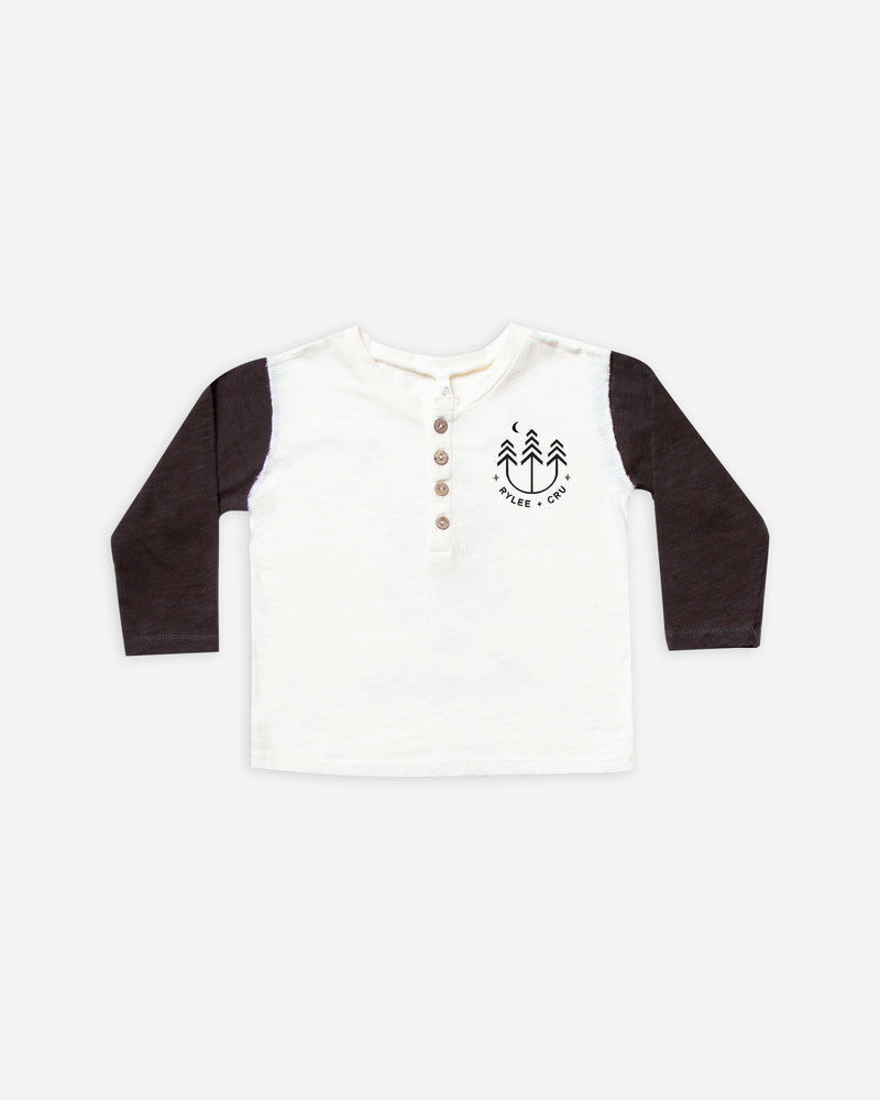 henley longsleeve tee || vintage black - Rylee + Cru | Kids Clothes | Trendy Baby Clothes | Modern Infant Outfits |