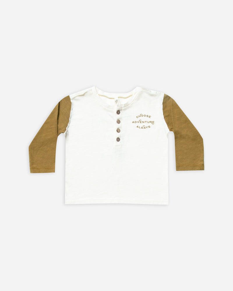 henley longsleeve tee || goldenrod - Rylee + Cru | Kids Clothes | Trendy Baby Clothes | Modern Infant Outfits |