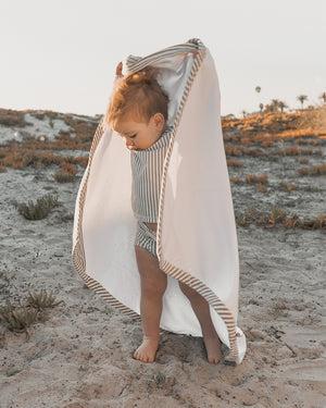 hooded towel || olive stripe - Rylee + Cru