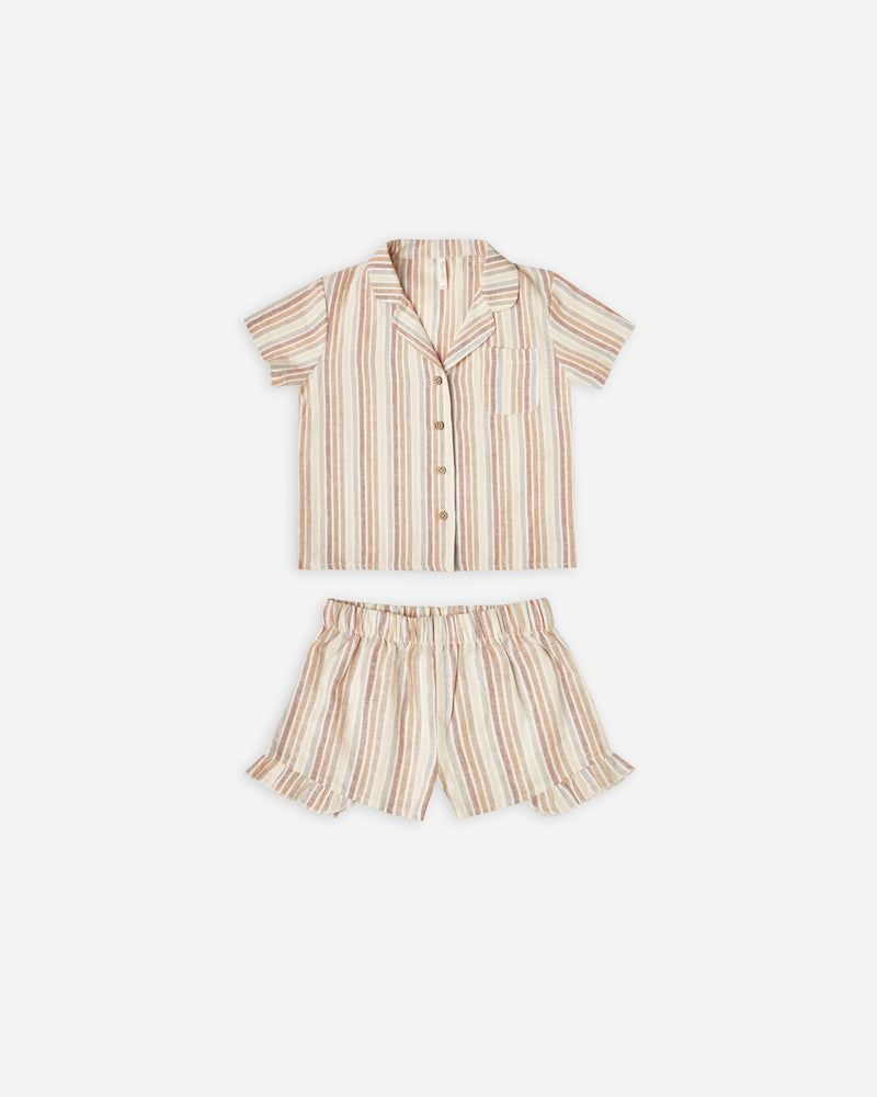 girls pajama set || multi-stripe