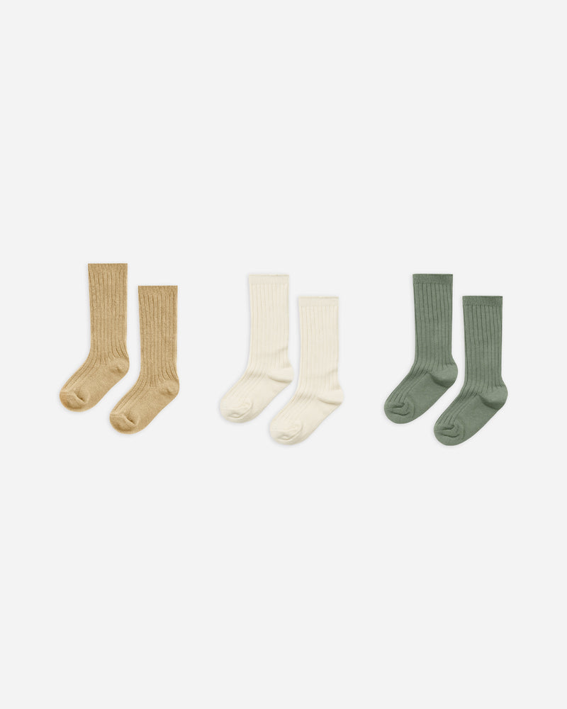 knee socks || almond, natural, fern - Rylee + Cru | Kids Clothes | Trendy Baby Clothes | Modern Infant Outfits |