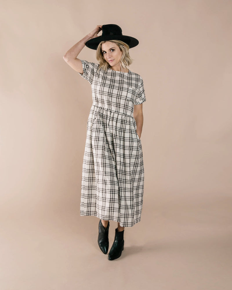 Check Kat Dress | Ivory / Black - Rylee + Cru