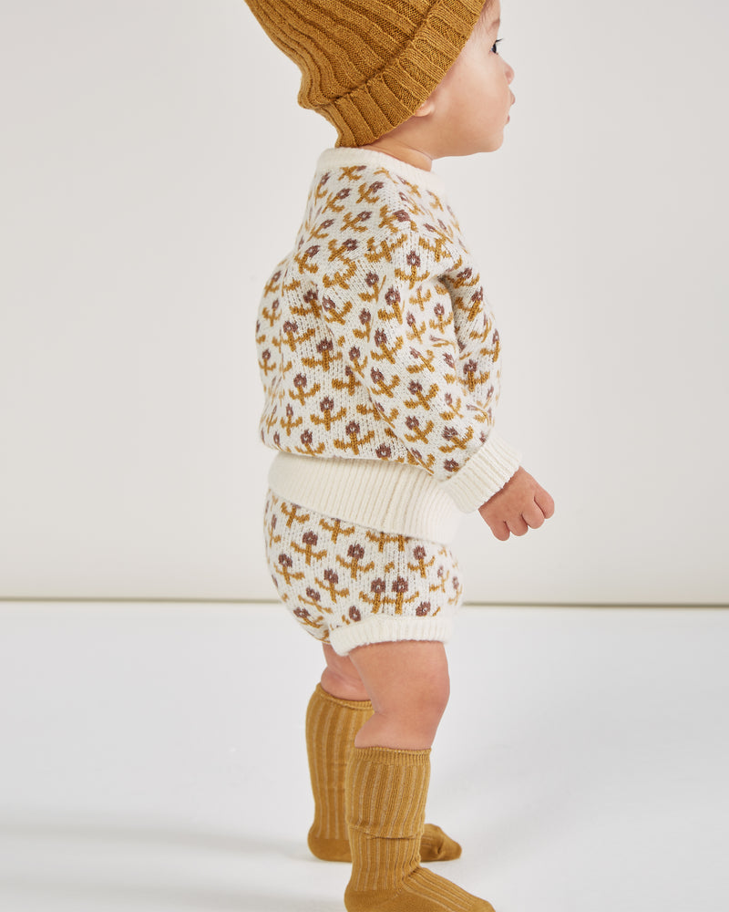 knit bloomer || flower stitch - Rylee + Cru | Kids Clothes | Trendy Baby Clothes | Modern Infant Outfits |