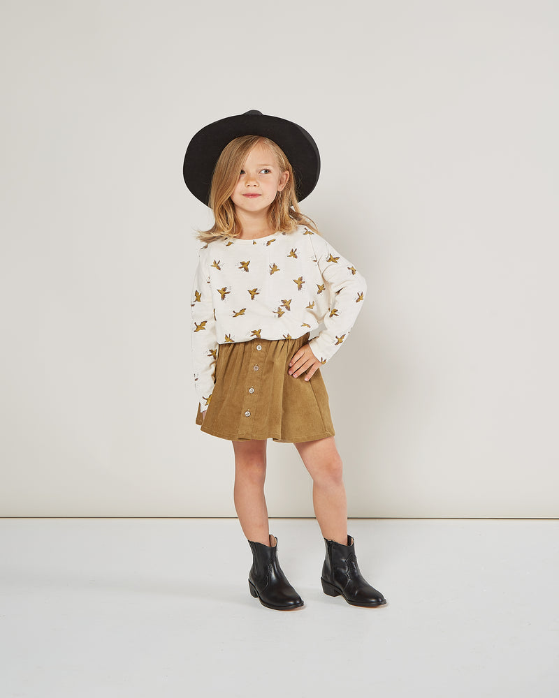 button front mini skirt || goldenrod - Rylee + Cru