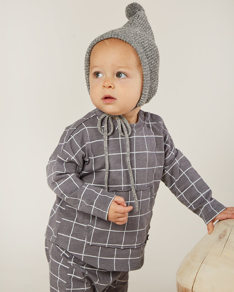 longsleeve pouch tee || grid - Rylee + Cru | Kids Clothes | Trendy Baby Clothes | Modern Infant Outfits |