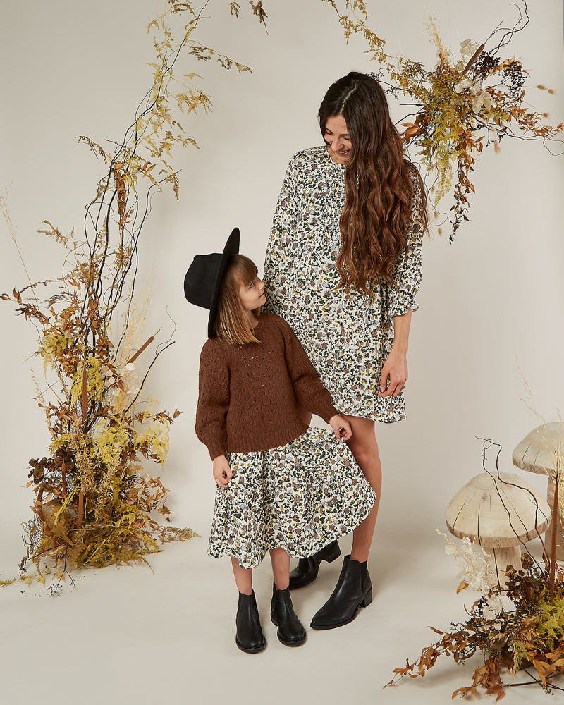 tiered midi skirt || enchanted garden - Rylee + Cru