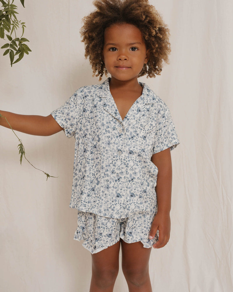 girls pajama set || blue floral