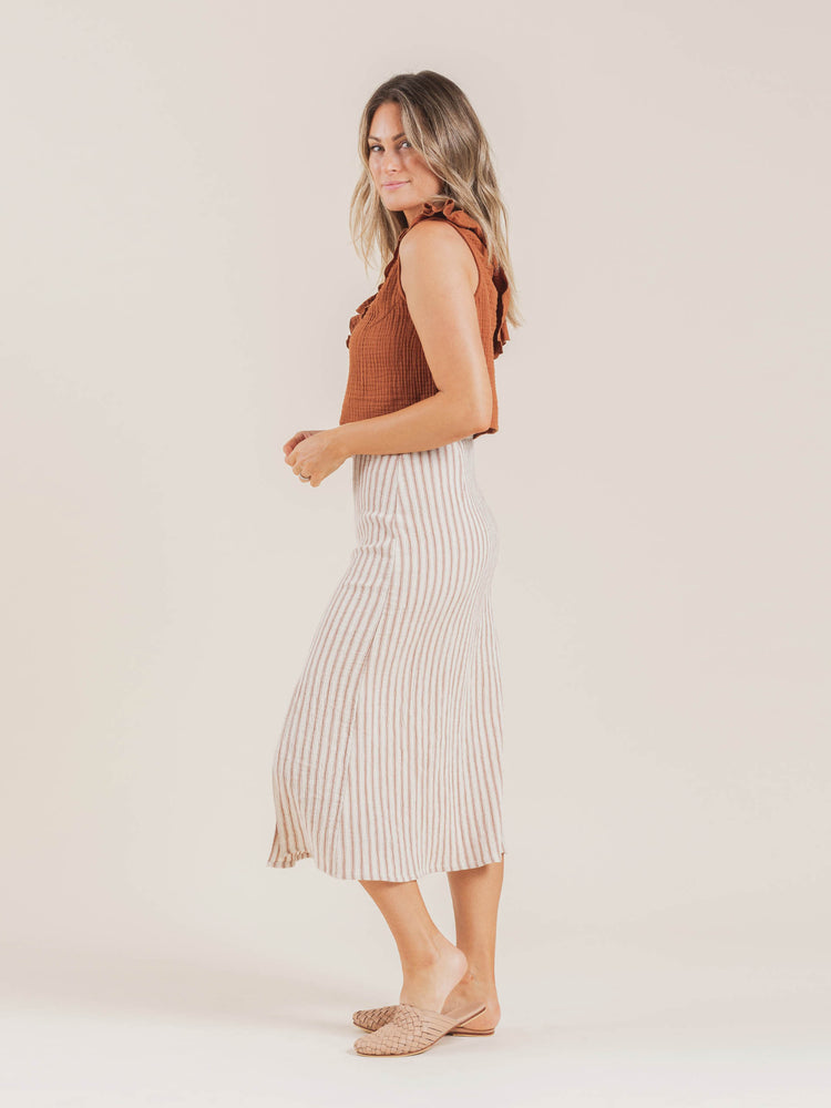 midi slit skirt | amber stripe