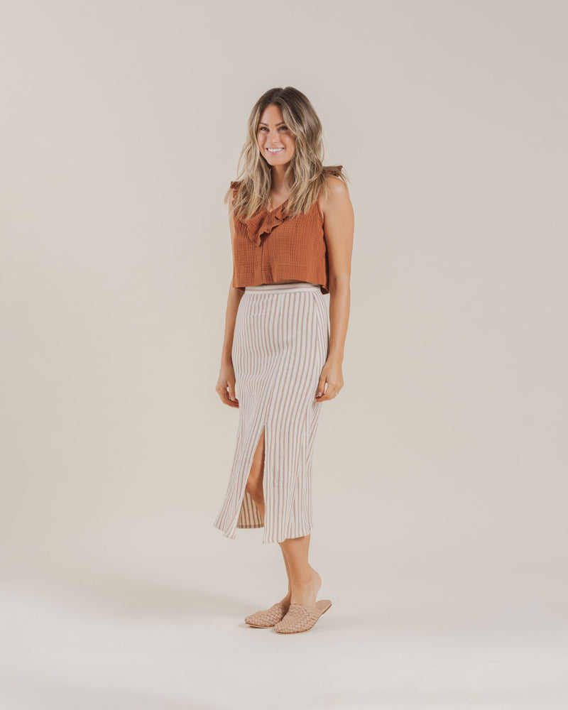 midi slit skirt | amber stripe - Rylee + Cru | Kids Clothes | Trendy Baby Clothes | Modern Infant Outfits |