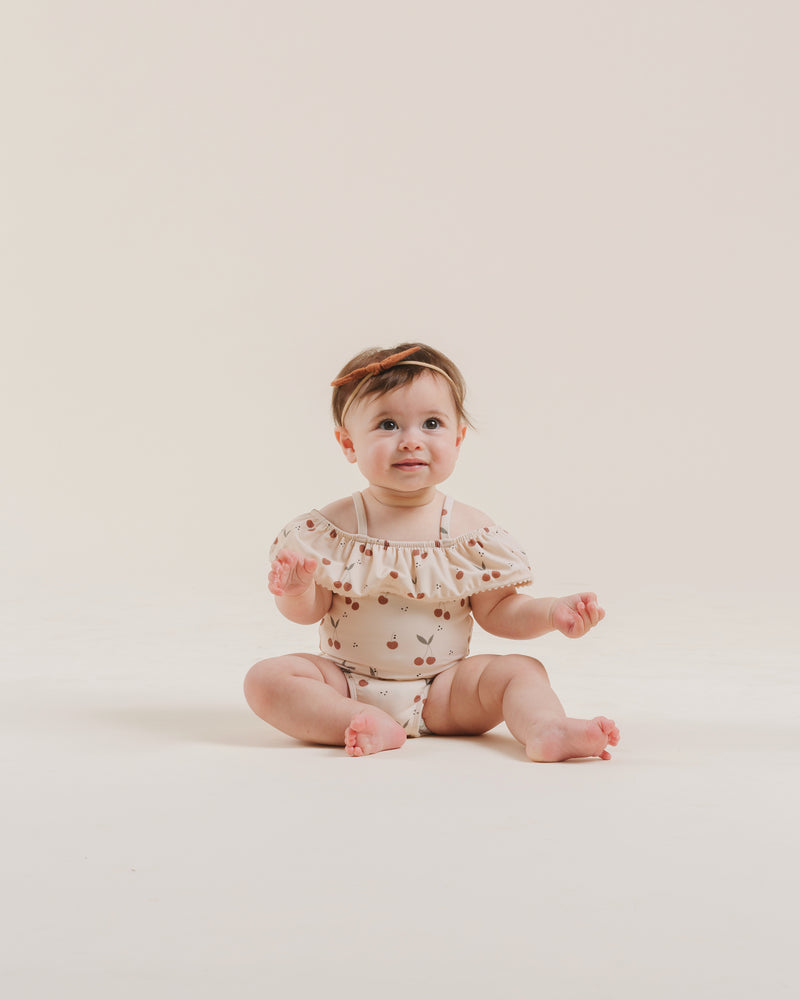off the shoulder onepiece || cherries - Rylee + Cru | Kids Clothes | Trendy Baby Clothes | Modern Infant Outfits |