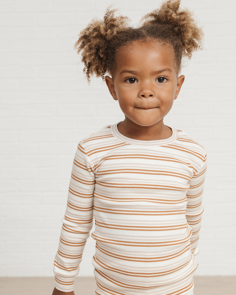 longsleeve pajamas set || cinnamon stripe - Rylee + Cru | Kids Clothes | Trendy Baby Clothes | Modern Infant Outfits |