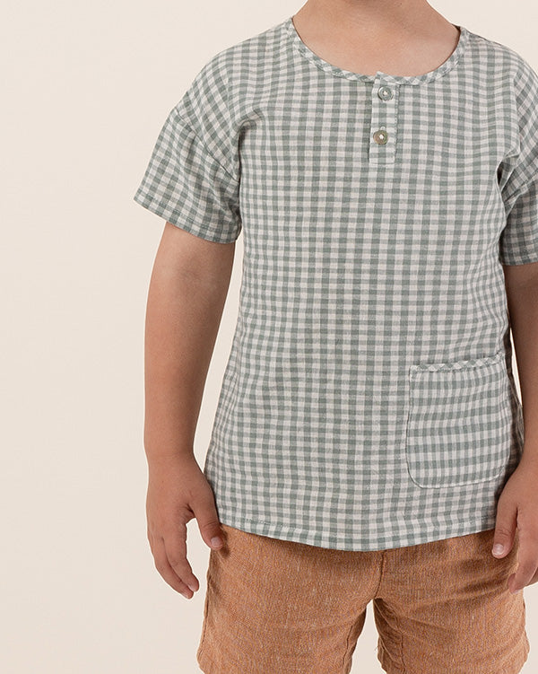 woven henley tee || gingham - Rylee + Cru | Kids Clothes | Trendy Baby Clothes | Modern Infant Outfits |
