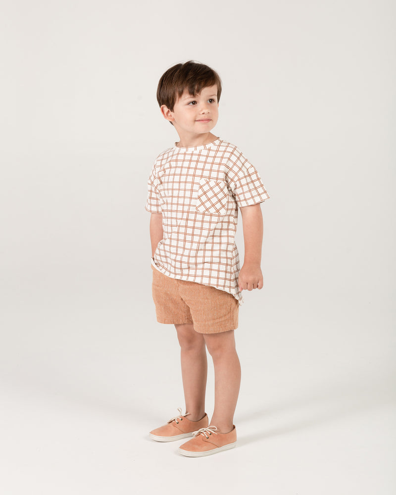 raw edge tee || bronze grid - Rylee + Cru | Kids Clothes | Trendy Baby Clothes | Modern Infant Outfits |