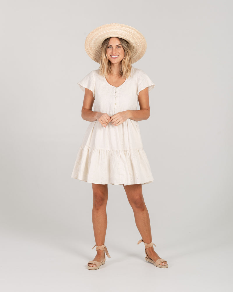 eyelet dolly dress | natural - Rylee + Cru
