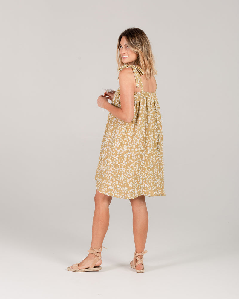 shoulder tie dress | scattered daisy - Rylee + Cru