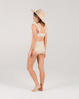 high-waisted bikini bottom | carnival stripe
