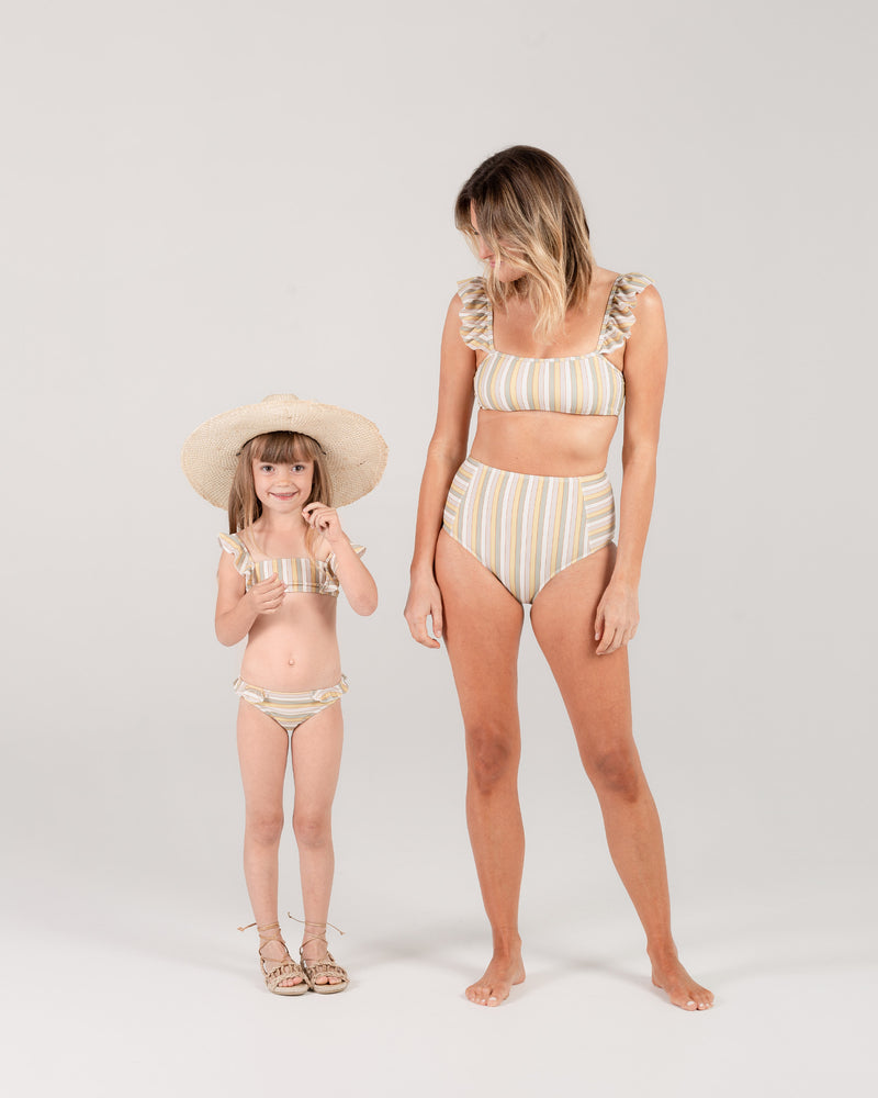 high-waisted bikini bottom | carnival stripe - Rylee + Cru | Kids Clothes | Trendy Baby Clothes | Modern Infant Outfits |