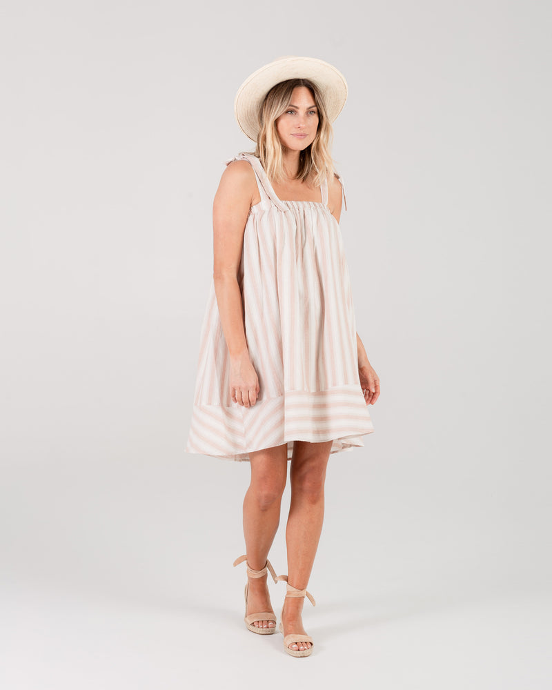 shoulder tie dress | petal stripe - Rylee + Cru
