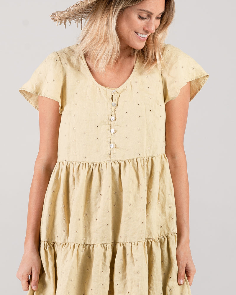 eyelet dolly dress | citron - Rylee + Cru | Kids Clothes | Trendy Baby Clothes | Modern Infant Outfits |