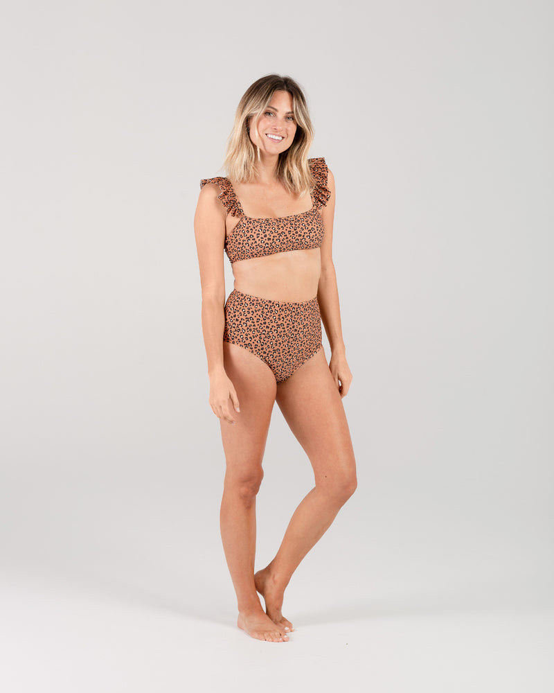 high-waisted bikini bottom | cheetah - Rylee + Cru