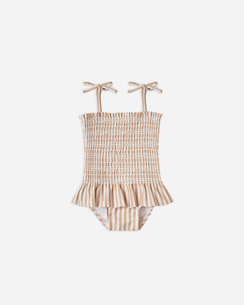 smocked skirted onepiece || almond stripe - Rylee + Cru | Kids Clothes | Trendy Baby Clothes | Modern Infant Outfits |