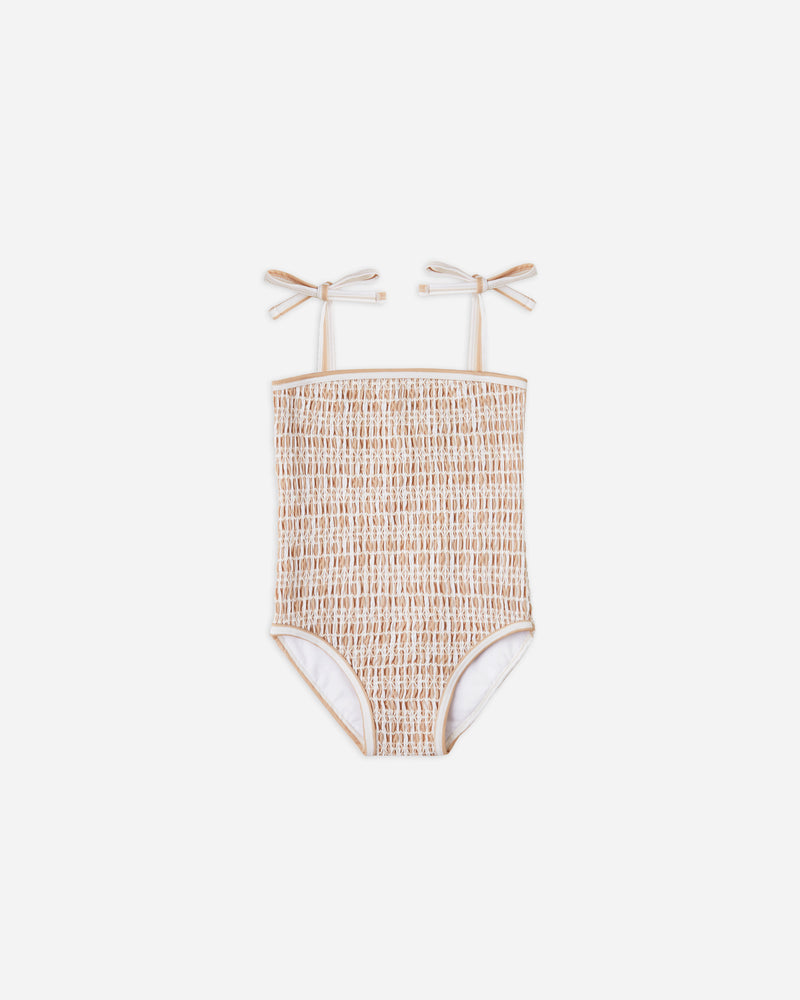 smocked onepiece || almond stripe - Rylee + Cru | Kids Clothes | Trendy Baby Clothes | Modern Infant Outfits |
