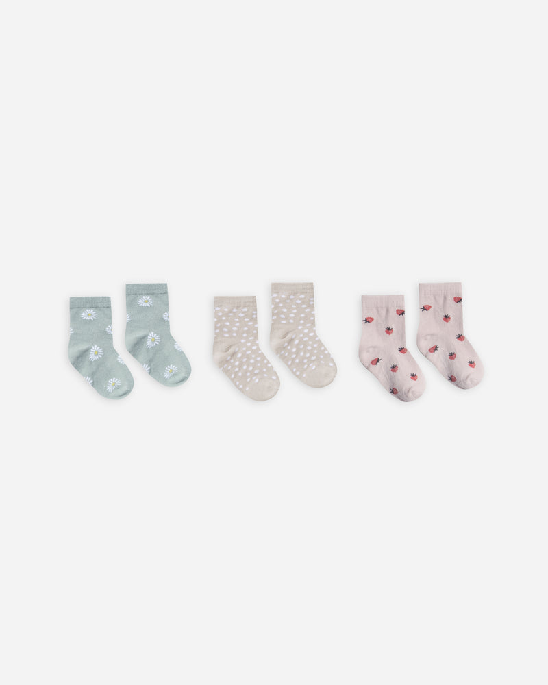 printed ankle sock set || daisy, micro dot, strawberry - Rylee + Cru | Kids Clothes | Trendy Baby Clothes | Modern Infant Outfits |
