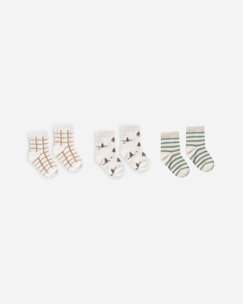 printed ankle sock set || bronze grid, sailboat, sea stripe