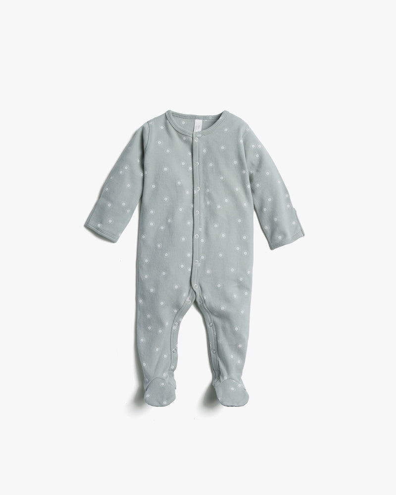 organic footed pajamas || sunburst, blue fog - Rylee + Cru | Kids Clothes | Trendy Baby Clothes | Modern Infant Outfits |