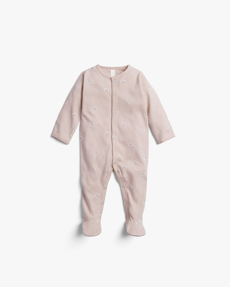 organic footed pajamas || rainbows, rose - Rylee + Cru | Kids Clothes | Trendy Baby Clothes | Modern Infant Outfits |