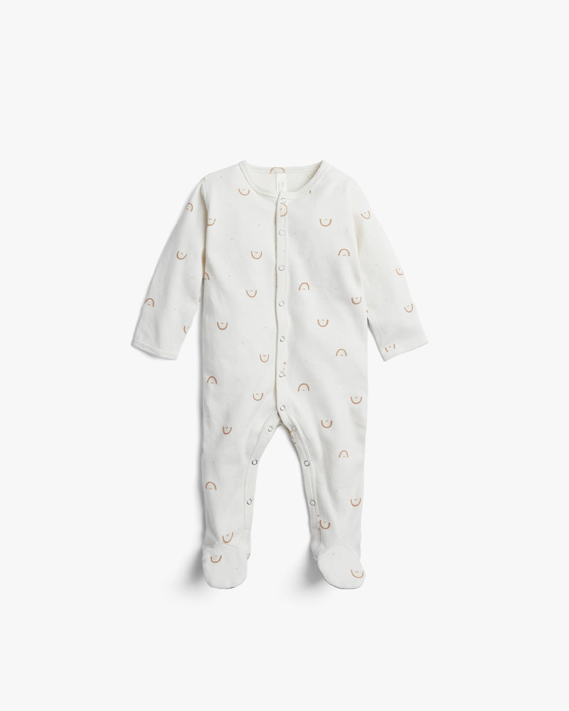 organic footed pajamas || rainbows, ivory - Rylee + Cru | Kids Clothes | Trendy Baby Clothes | Modern Infant Outfits |