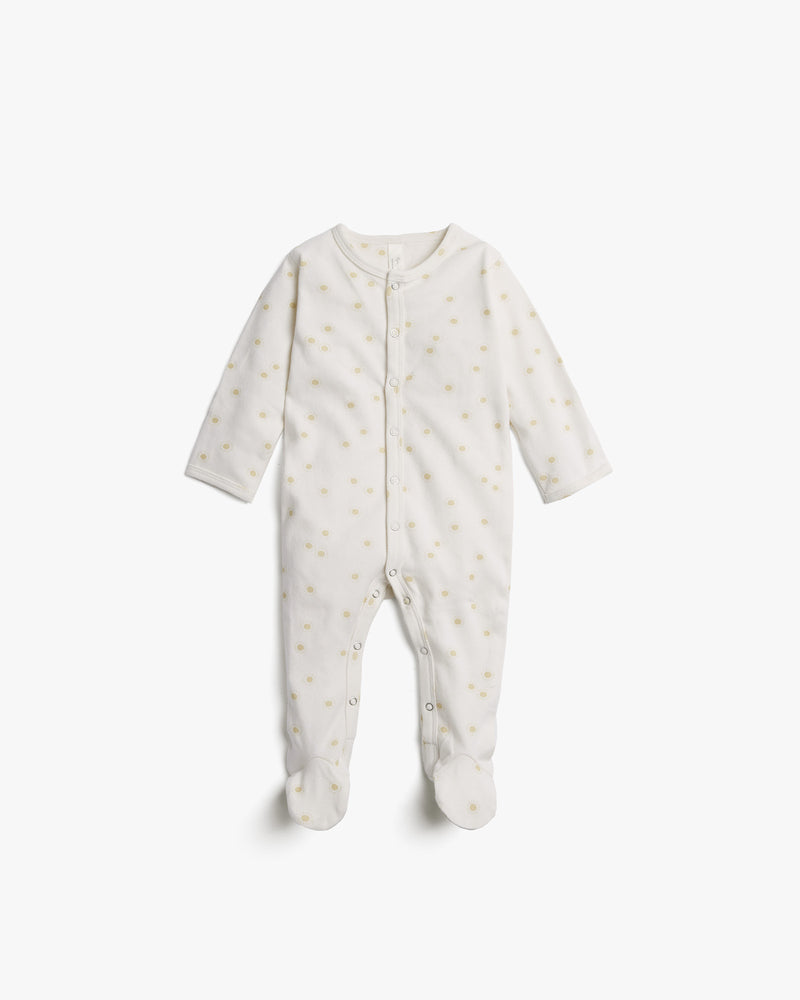 organic footed pajamas || sunburst, ivory - Rylee + Cru | Kids Clothes | Trendy Baby Clothes | Modern Infant Outfits |