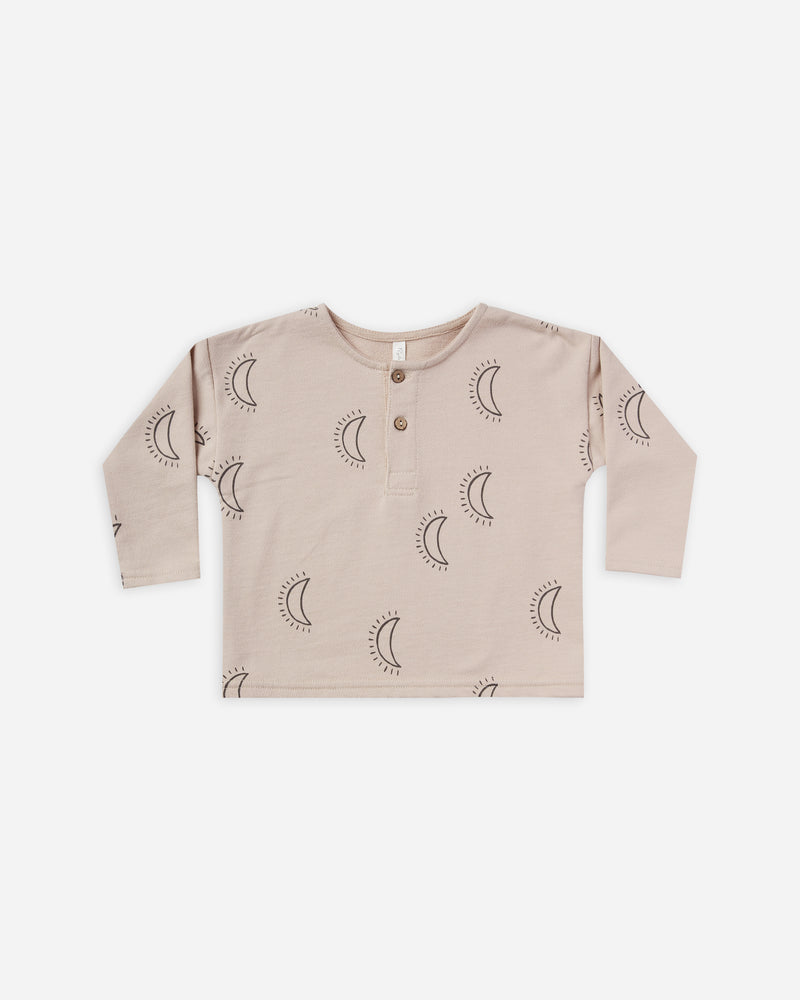 longsleeve henley || moons - Rylee + Cru | Kids Clothes | Trendy Baby Clothes | Modern Infant Outfits |