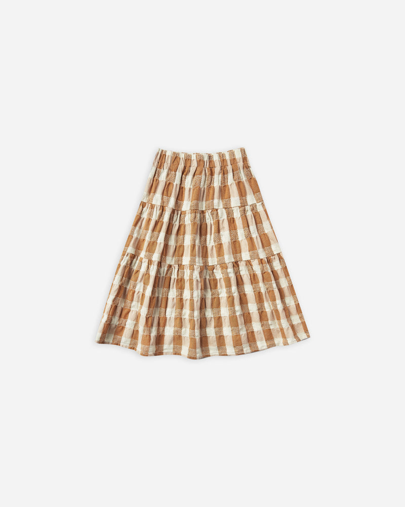 tiered midi skirt || cinnamon check - Rylee + Cru | Kids Clothes | Trendy Baby Clothes | Modern Infant Outfits |