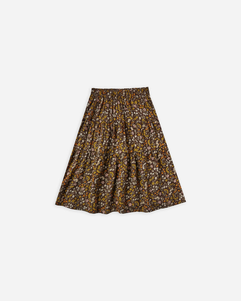 tiered midi skirt || dark floral - Rylee + Cru
