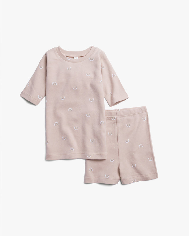 organic summer pajamas || rainbows, rose - Rylee + Cru | Kids Clothes | Trendy Baby Clothes | Modern Infant Outfits |