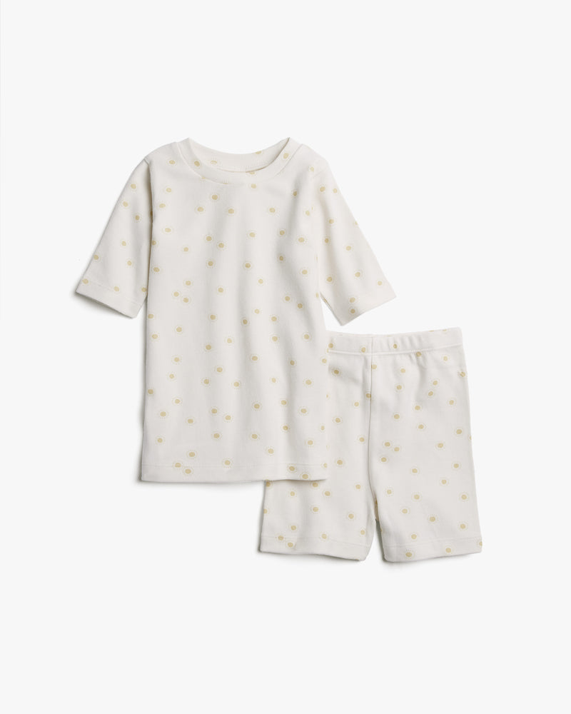 organic summer pajamas || sunburst, ivory - Rylee + Cru | Kids Clothes | Trendy Baby Clothes | Modern Infant Outfits |