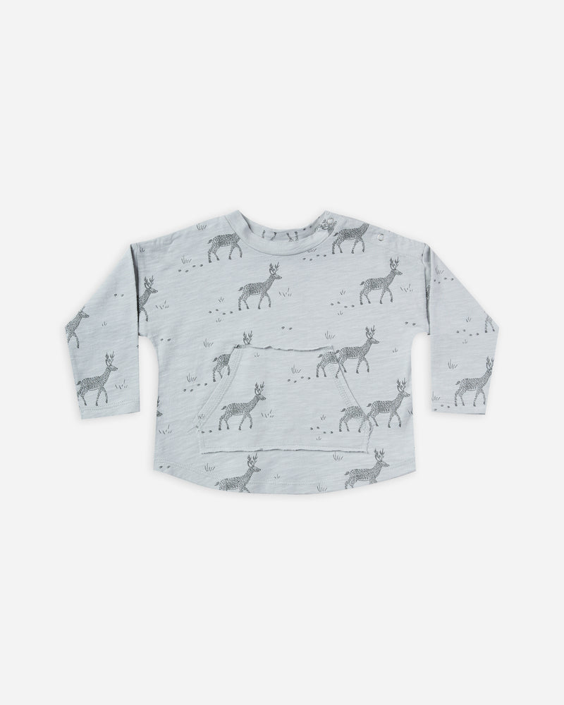 longsleeve pouch tee || buck - Rylee + Cru | Kids Clothes | Trendy Baby Clothes | Modern Infant Outfits |