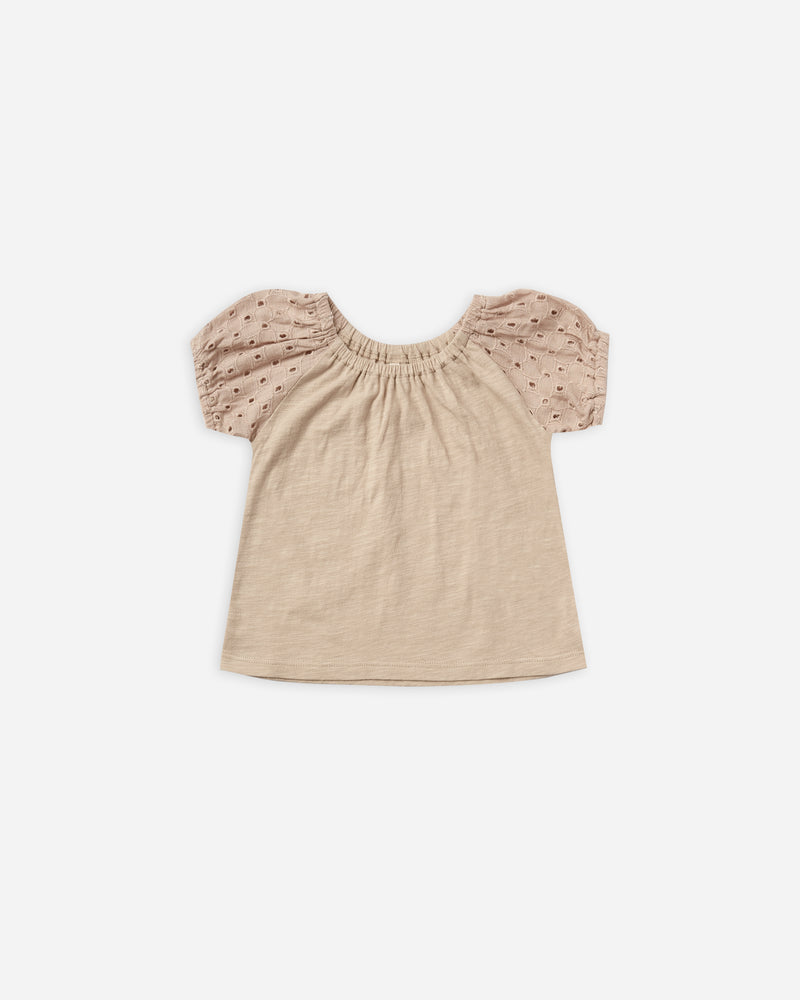 puff sleeve tee || oat - Rylee + Cru | Kids Clothes | Trendy Baby Clothes | Modern Infant Outfits |