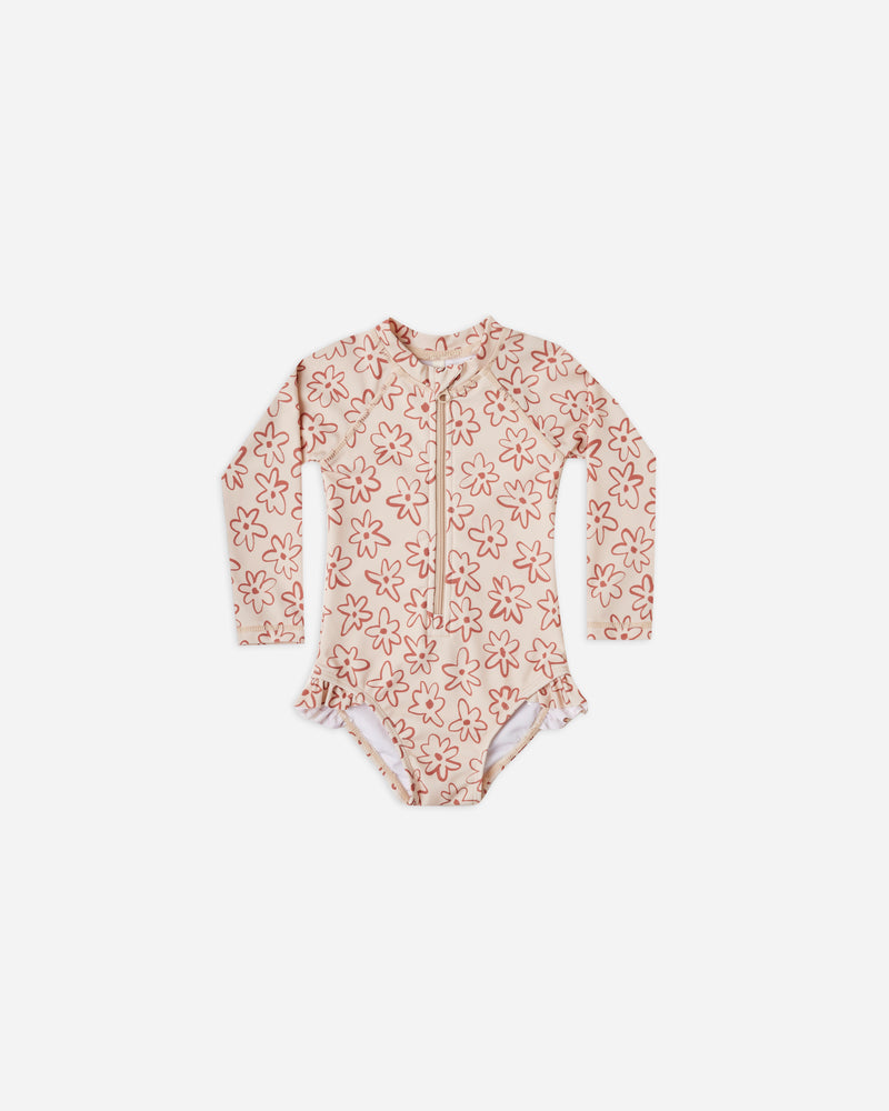 rashguard onepiece || flower outline - Rylee + Cru | Kids Clothes | Trendy Baby Clothes | Modern Infant Outfits |