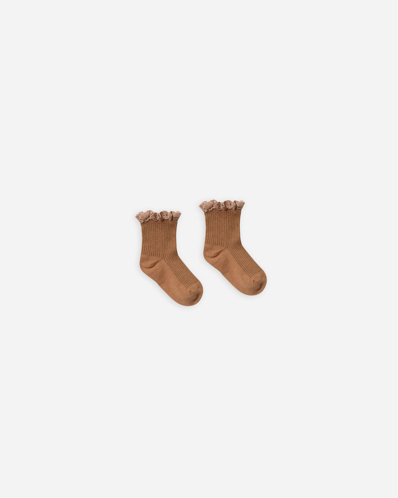 lace trim socks || bronze - Rylee + Cru