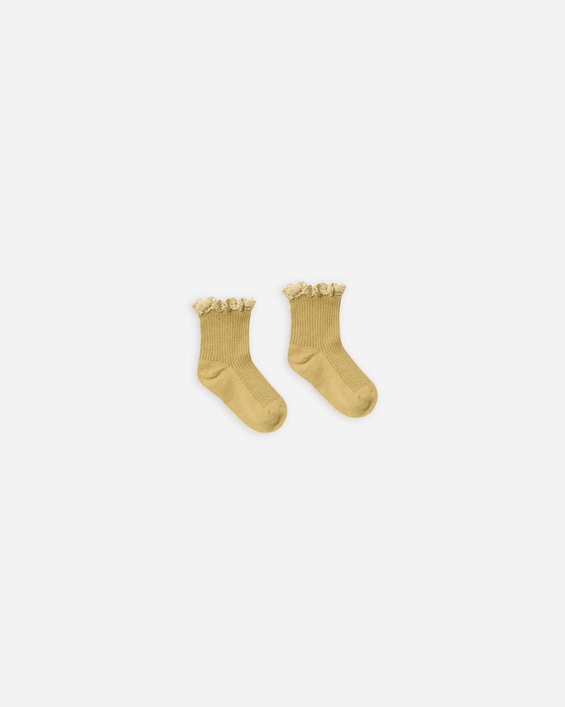 lace trim socks || citron - Rylee + Cru | Kids Clothes | Trendy Baby Clothes | Modern Infant Outfits |