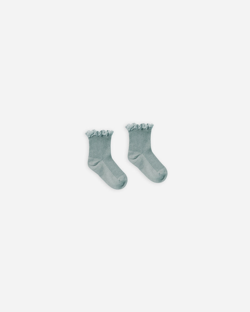 lace trim socks || sea - Rylee + Cru | Kids Clothes | Trendy Baby Clothes | Modern Infant Outfits |