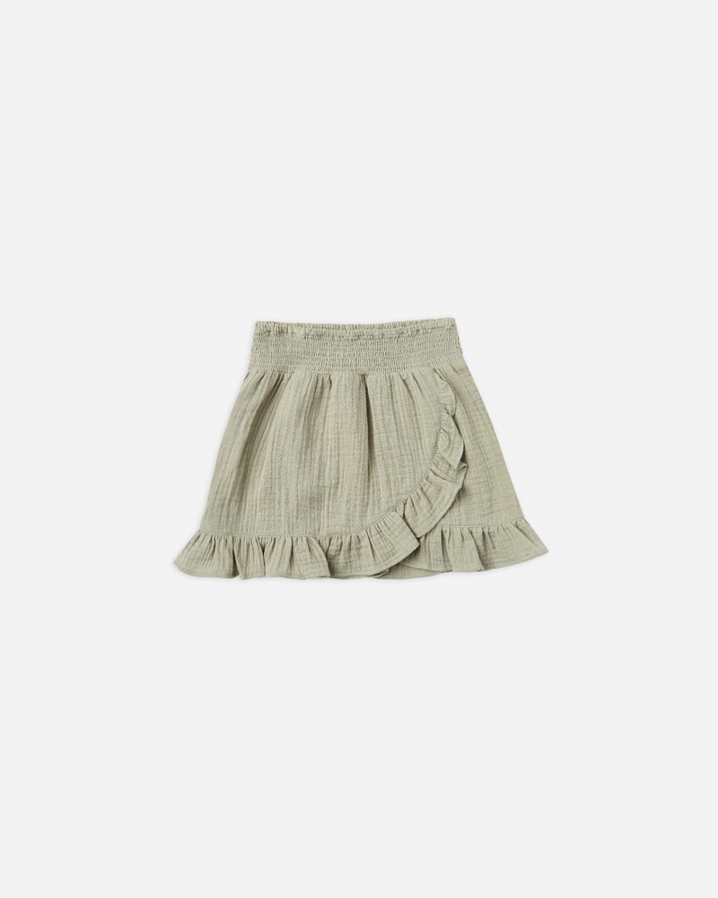 WRAP RUFFLE SKIRT || Sage - Rylee + Cru | Kids Clothes | Trendy Baby Clothes | Modern Infant Outfits |