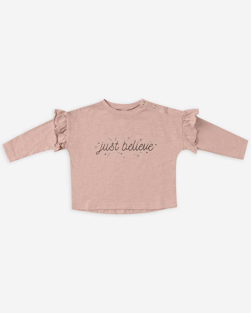 longsleeve ruffle tee || just believe - Rylee + Cru | Kids Clothes | Trendy Baby Clothes | Modern Infant Outfits |