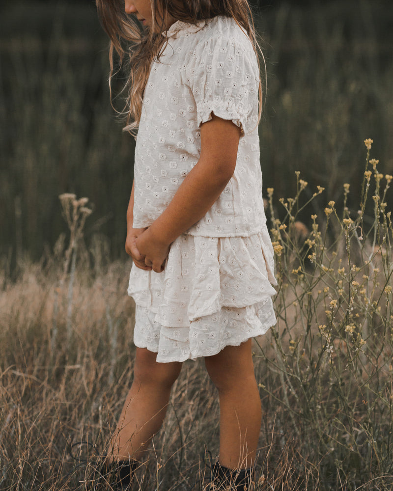 tiered mini skirt || natural - Rylee + Cru | Kids Clothes | Trendy Baby Clothes | Modern Infant Outfits |