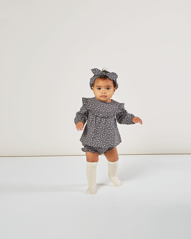 flutter bloomer || washed indigo ditsy - Rylee + Cru | Kids Clothes | Trendy Baby Clothes | Modern Infant Outfits |